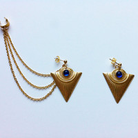 Tribal Ear Cuff Earrings- Sapphire Gold Triangles