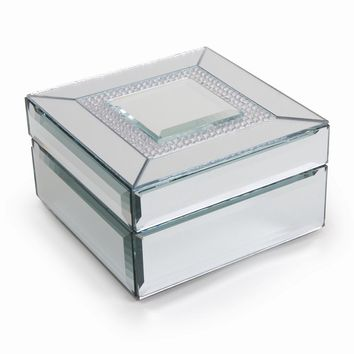 Glass Mirror w/Crystals Square Jewelry Box