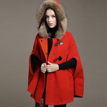 Fashion women Wool Coat Bat sleeveJacket Shawl Cape Wrap Scarves Faux Fur hoodie parka red blue camel = 1930400644