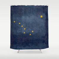 "Alaskan State Flag, ""Distressed version"" Shower Curtain by Bruce Stanfield"