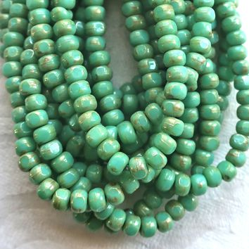 50 4 x 3mm, Tricut, Tri-cut, 3 cut Round Czech glass beads, turquoise green.picasso 6/0 seed beads C66101