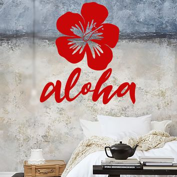 Vinyl Wall Decal Tropical Flower Bud Hawaii Aloha Nature Stickers Unique Gift (1755ig)