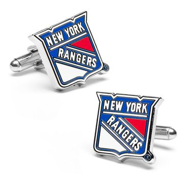 New York Rangers Rhodium-Plated Cuff Links (Ny Rangers)