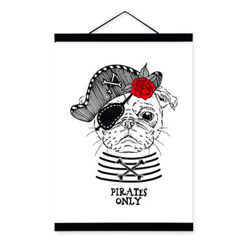 Modern Vintage Retro Pirate Anmial Hippie Dog Wooden Framed Canvas Painting Wall Art Print Picture Poster Hanger Kids Room Decor