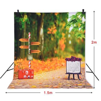 Andoer 1.5 * 2m Photography Background Backdrop Autumn Fallen Leaves Road Sign Pattern for  Kids Photo Studio Portrait Shooting