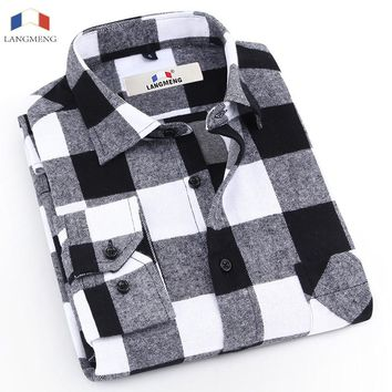 Langmeng Promotion 2017 New Fashion 100% Cotton Mens Plaid Flannel Shirt Male Long Sleeve Casual Shirts Vintage Men Shirt