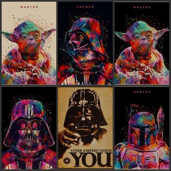 Star Wars YODA's war kraft paper, retro nostalgia bedroom decoration posters posters wall stickers bar cafe