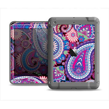 The Vibrant Purple Paisley V5 Apple iPad Mini LifeProof Nuud Case Skin Set