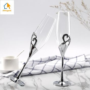 2 Pcs Crystal Wedding Toasting Champagne Flutes