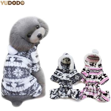 Winter Autumn Dogs Clothes Four Leg Soft Warm Hooded Puppy Dog Pet Deer Coats Jackets(tracking number can track)