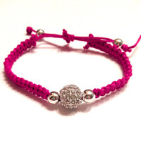 Fuchsia Raspberry Pink Macramé Silver Rhinestone Pave Beaded Bracelet Arm Candy Jewelry Stackable Dollar Shipping Party