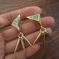 Diamonds Cones Earrings / Gold Tones Earrings