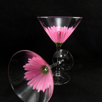 Pink Daisy Martini Glasses Hand Painted Set of 2