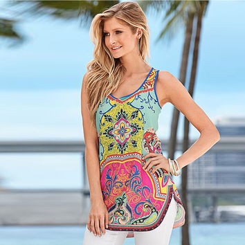 New Arrival casual summer Women top exotic Printed Vest Top Sleeveless t-Shirt Tank O-Neck bohemian