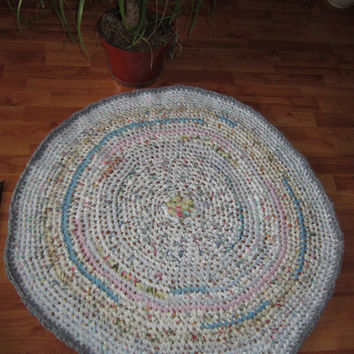 "Rag Rug Area Rug Crochet Rug Shabby Chic Pastel Colors From Upcycled Recycled Repurposed Fabrics 36"" Diameter"