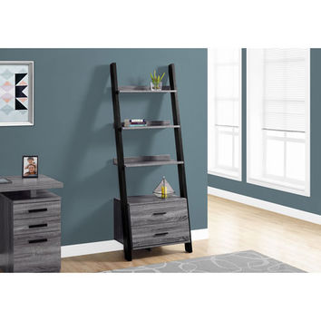 Hawthorne Ave Grey Black Ladder Bookcase With 2 Storage Drawer I 2755 | Bellacor
