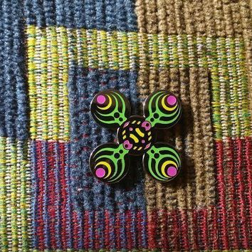 EDM Bass Music Festival Rave DJ Concert Green Sacred G Geometry Lapel Hat Pin