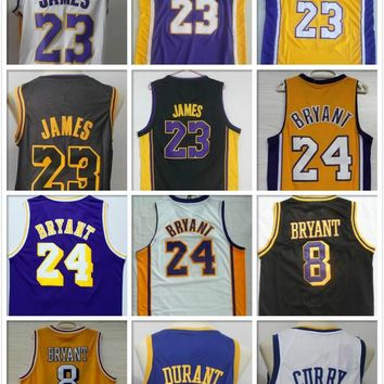 18Men's New Basketball Shirt Kevin Durant #23 LeBron James Lonzo Ball 0 Kyle Kuzma 24 Bryant 8 Kobe  Basketball Jerseys Stitched