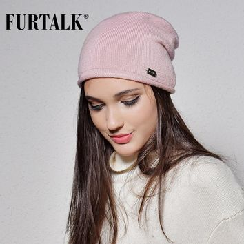 FURTALK 100% Wool Cashmere Autumn Winter Women Hat Knit Skullies Beanies Hats for Girls Female