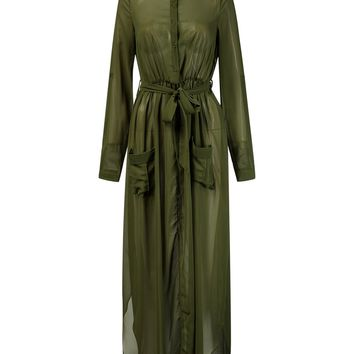Army Green Lapel V-neck Tie Waist Side Split Maxi Dress