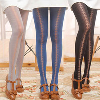 Sheer Mesh Lace Geo-Print Legging