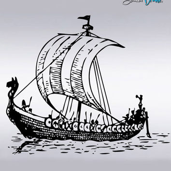 Vinyl Wall Decal Sticker Viking Ship Boat #291