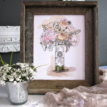 Wedding Bouquet Illustration, Bridal, Drawing, Sketch, Watercolor, Peach, Pink, Jewel, Lace, Wall Art, Home Decor, Blossoms,Flowers