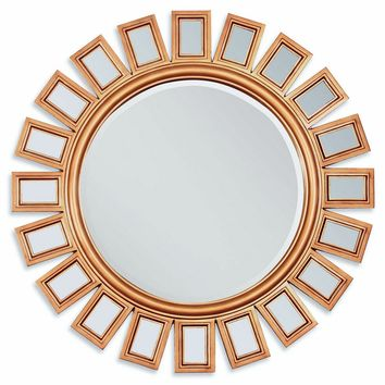"A.M.B. Furniture & Design :: Wall Mirrors :: Gold finish sunburst geometric design hanging wall mirror.  Measures 36"" Dia."