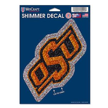 Licensed Oklahoma State Cowboys Official NCAA Shimmer Car Decal by Wincraft 124043 KO_19_1
