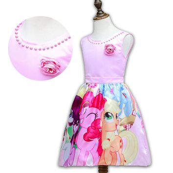 2017 Summer Style My Little Girls Pony Flower Party Dresses Kids Pearl Girl ShortSleeve Cartoon Rainbow Chiffon Princess Dress