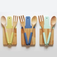 Paddle Cutting Board and Kitchen Utensil Set | Choose your color | Host Gift | Wooden Salad Serving Set | Wood Cutting Board | Wood Spoon