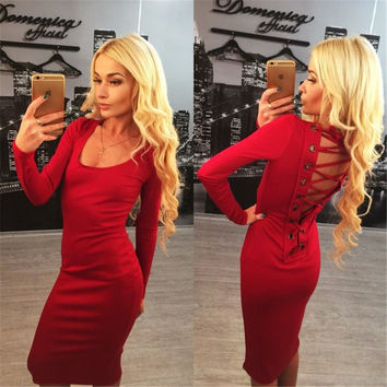 V Back Drawstring Long Sleeve Bodycon Dress