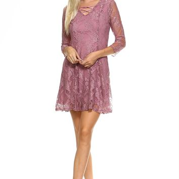 3/4 Three Quarter Sleeved Lace Dress