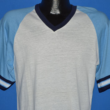 80s White Blue Ringer Jersey Deadstock t-shirt Medium