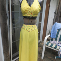 1960s  bombshell   hippie set boho set   yellow with colorful embroidery  halter top and maxie  skirt