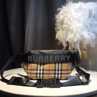 Kuyou Gb59918 Burberry Belt Bag In Small Vintage Check And Canvas 31x7.5x16cm