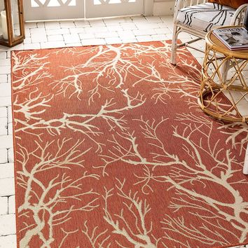 7178 Terracotta Outdoor-Indoor Branches Area Rugs