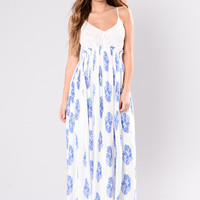 Waterloo Dress - White/Royal