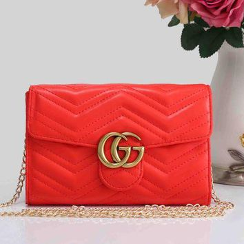 DCCKR2 Gucci Stylish Women Shopping Bag Pure Color GG Leather Metal Chain Crossbody Shoulder Bag(4-Color) Red I-XS-PJ-BB