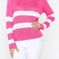Stripe Crochet Knit Sweater