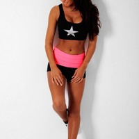 Jane Coral & Black South Beach Exercise Shorts | Pink Boutique