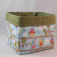 Adorable Blue and Green Owl Themed Fabric Basket For Storage Or Gift Giving