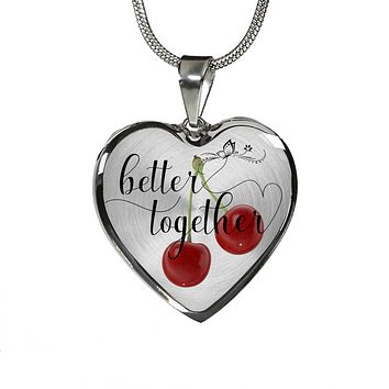 Heart Shape Necklace and Bracelet Better Together Valentine - Anniversary Gift