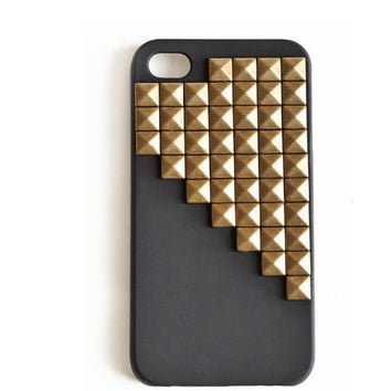 Black iphone case with bronze pyramid,cellphone cover, Hard case, iPhone Cover, cover for Android,trendy, iPhone 4s, iPhone 4,