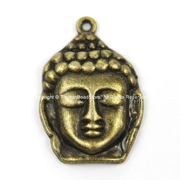 Antiqued Brass Tone Buddha Face Charm Pendant- Antiqued Brass Buddha Face Head Charm - TibetanBeadStore Charms- WM5689-1