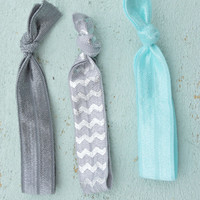 3 piece Grey and Blue Chevron Elastic Hair ties/ Hair tie set