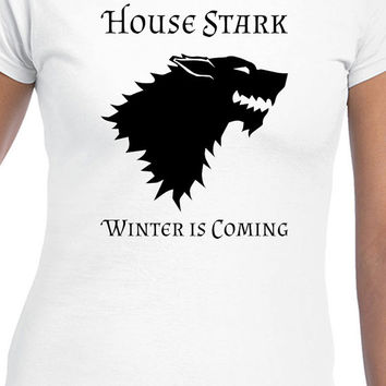 Game of Thrones House Stark Winter Is Coming Black Dire Wolf Logo GOT Inspired T-Shirt Design