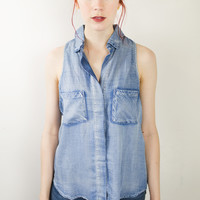 Dalia Split Back Button Up Tank