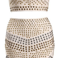 Mirida 2 Piece Studded Bandage Dress - Beige