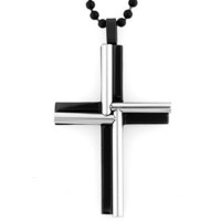 Black-plated Stainless Steel Cylinder Windmill Cross Necklace | Overstock.com